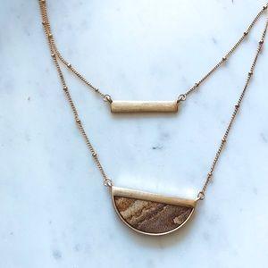 Jasper Layer Necklace Gold Half Moon Pendant NWT